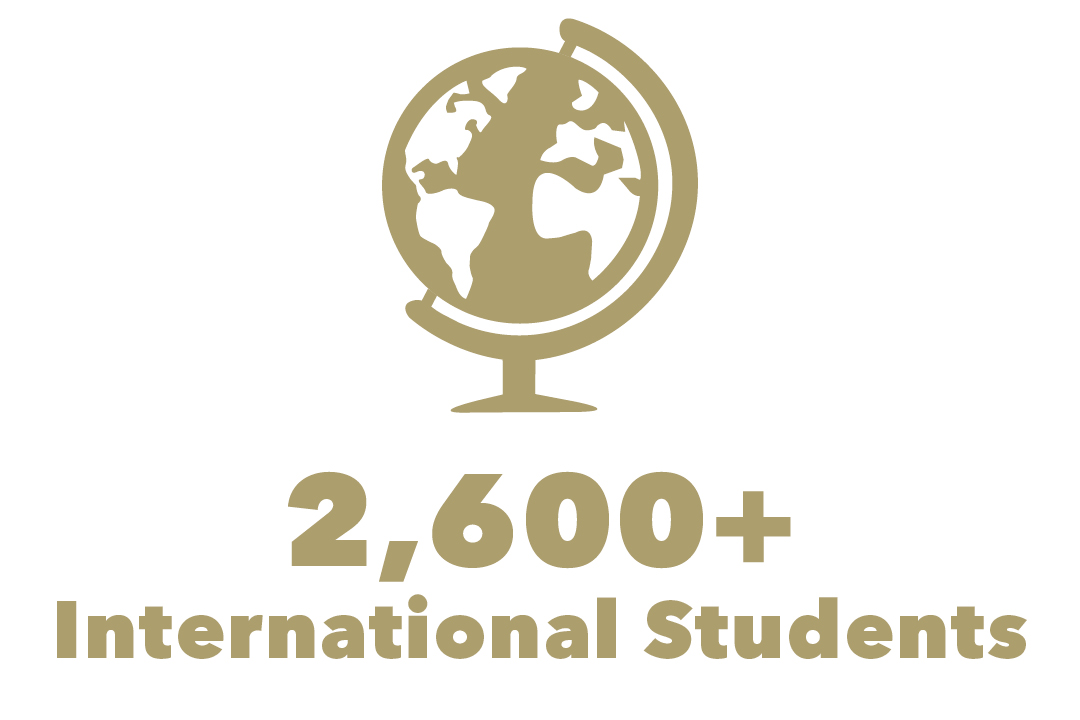 graphical representation of 2,600+ international students with globe