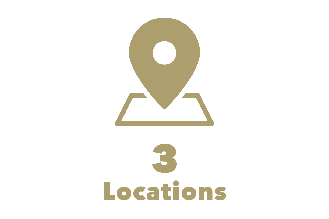 graphical representation of 3 locations with map marker