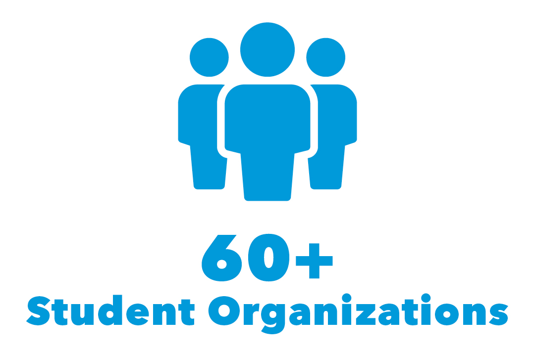 graphical representation of 60+ student organizations with silhouette of three people