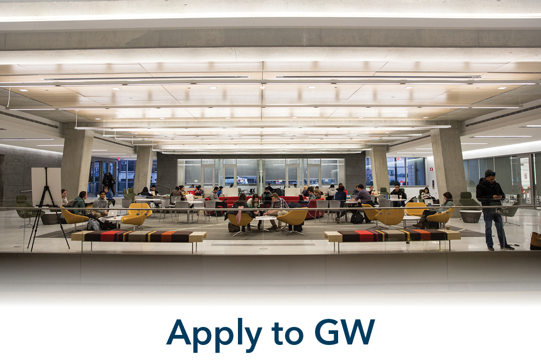 apply to gw; view of Science & Engineering Hall lounge area