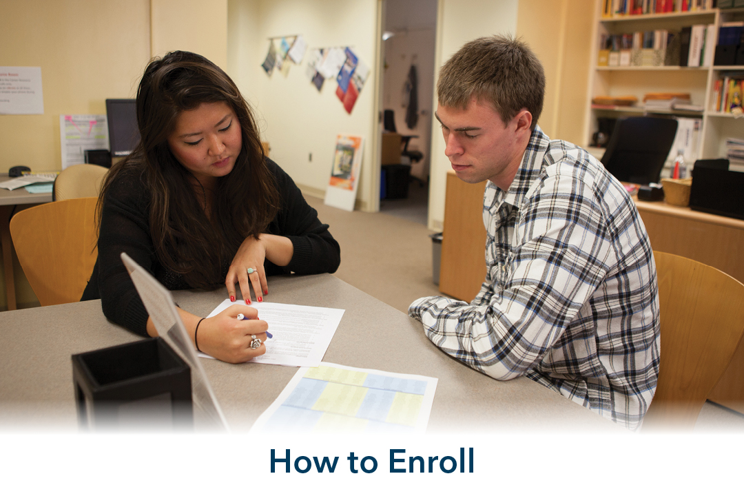how to enroll: two people studying
