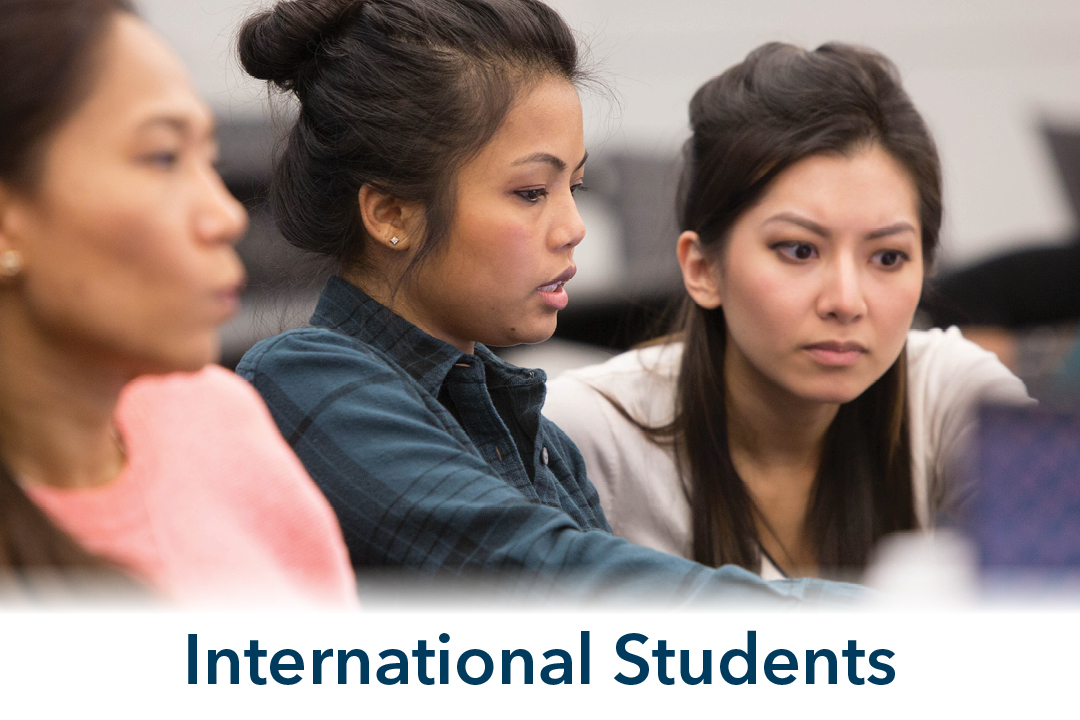 International Students; three students in classroom