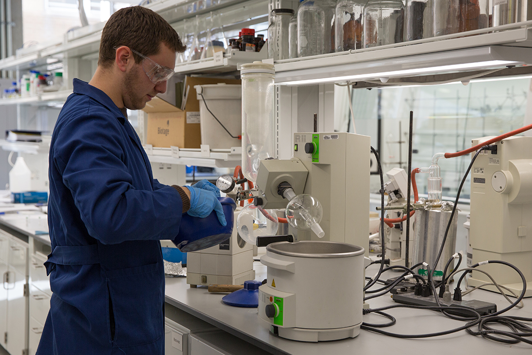 a grad student in a research laboratory