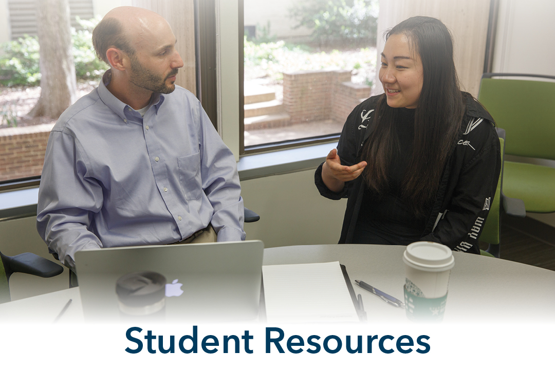 Student Resources; student and professor talking
