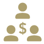 graphical representation of multiple person silhouettes with dollar sign in middle