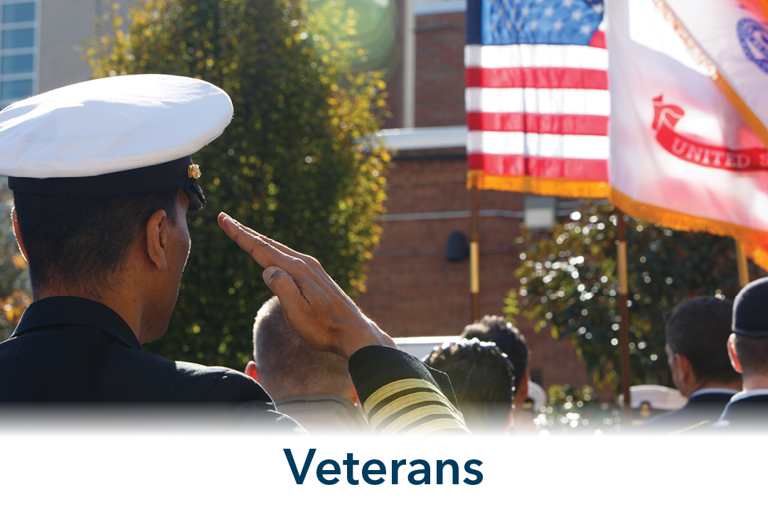 Veterans; view of man in military attire saluting American flag